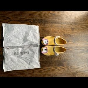 Mini Melissa girls yellow unicorn shoes